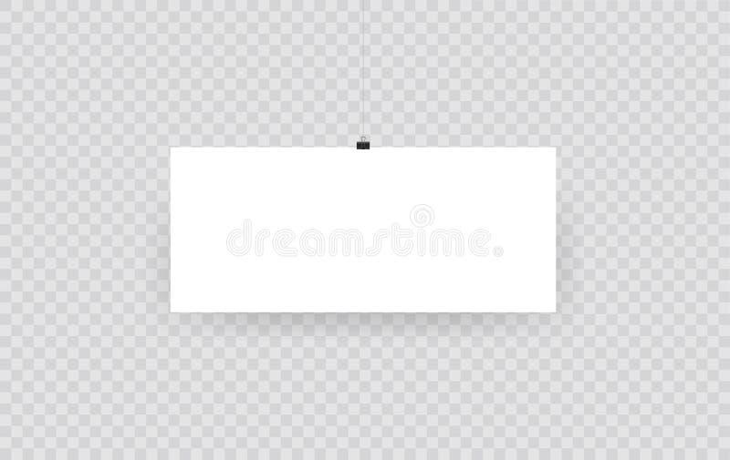 在透明背景隔绝的空白的垂悬的相框或海报模板 垂悬照片的图片,框架纸画廊 库存例证