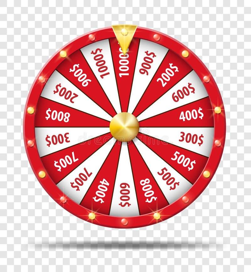 在透明背景隔绝的红色抓阄转轮 赌博娱乐场抽奖运气比赛 胜利时运轮子轮盘赌 向量 皇族释放例证