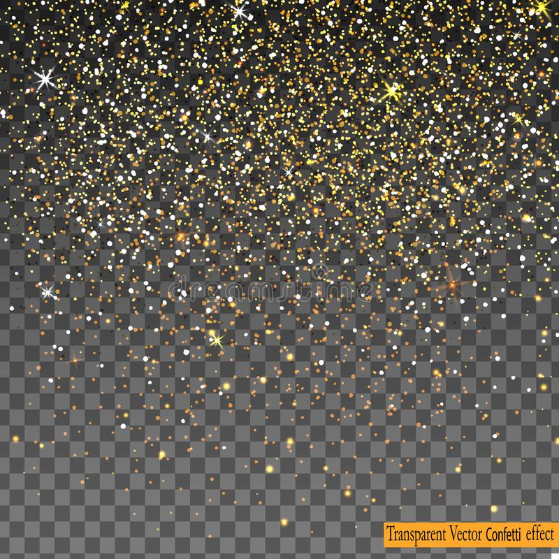 在透明背景隔绝的落的发光的金子闪烁五彩纸屑 皇族释放例证