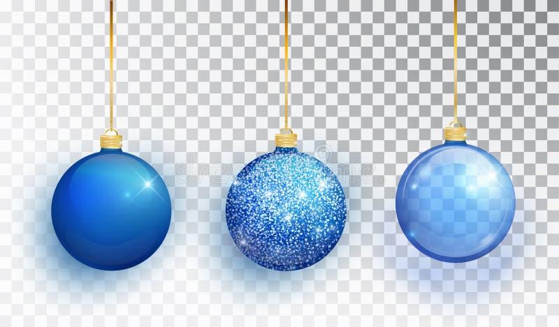 在透明背景隔绝的蓝色圣诞树玩具集合 长袜圣诞节装饰 圣诞节desi的传染媒介对象 向量例证