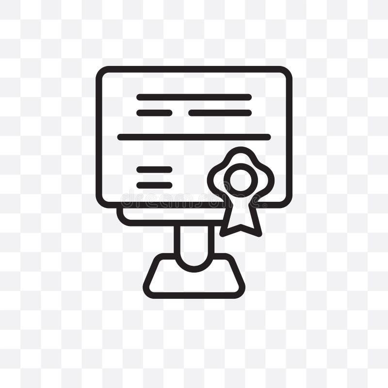 在透明背景隔绝的资格传染媒介线性象,资格透明度概念在网和mo可以使用 向量例证