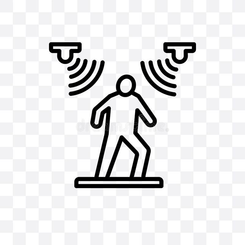 在透明背景隔绝的运动传感器传染媒介线性象,运动传感器透明度概念在网和mo可以使用 库存例证