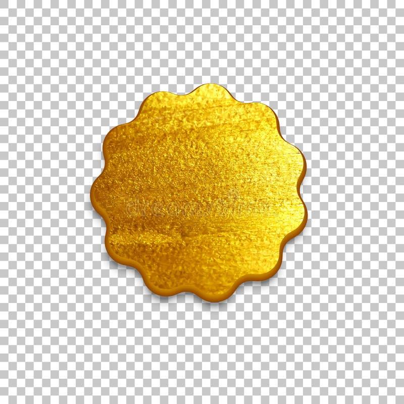 在透明背景隔绝的金黄邮票 容易的设计编辑要素导航 皇族释放例证