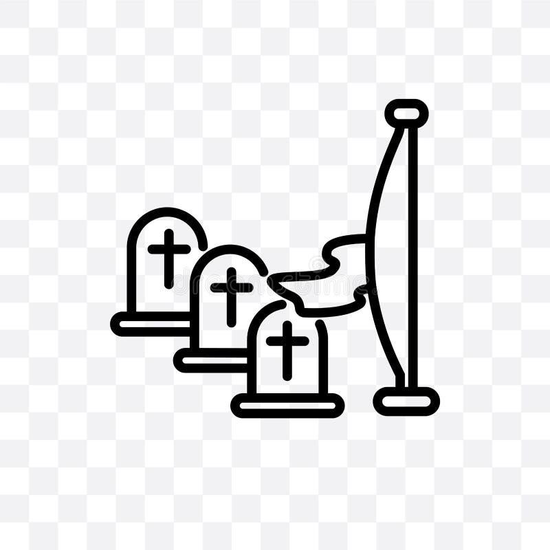 在透明背景隔绝的阵亡将士纪念日传染媒介线性象,阵亡将士纪念日透明度概念可以为网和mobi使用 库存例证