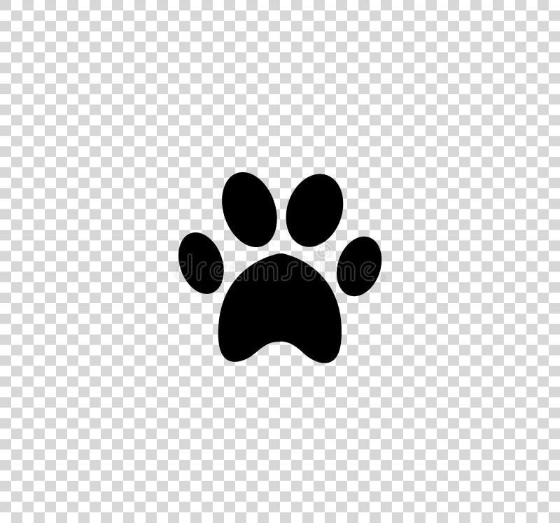 在透明背景隔绝的黑动物pawprint象 皇族释放例证