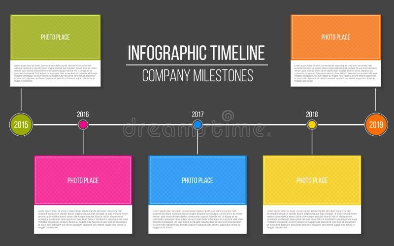 在透明背景隔绝的infographic公司里程碑时间安排模板的创造性的例证 照片placeho 向量例证