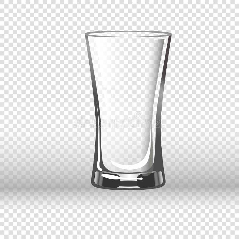 在透明背景隔绝的空的水杯 向量例证