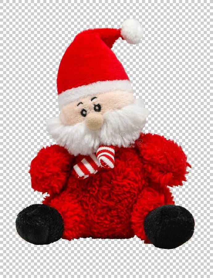 在透明背景,png的软的玩具圣诞老人项目 图库摄影