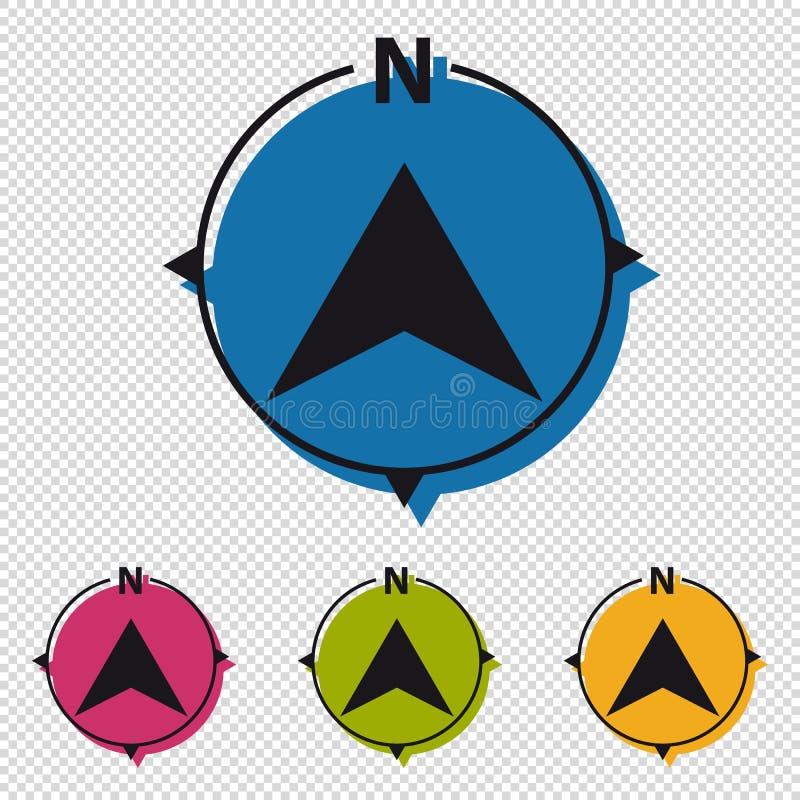 在透明背景-五颜六色的传染媒介象-隔绝的北部方向指南针 库存例证