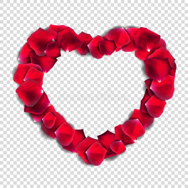 在透明背景Rea的抽象自然玫瑰花瓣心脏 库存例证