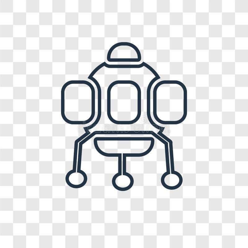 在透明隔绝的太空舱概念传染媒介线性象 库存例证
