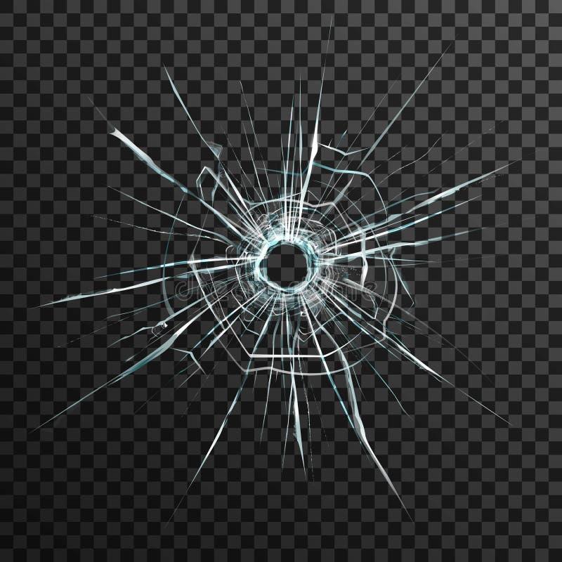 在透明玻璃的弹孔 库存例证