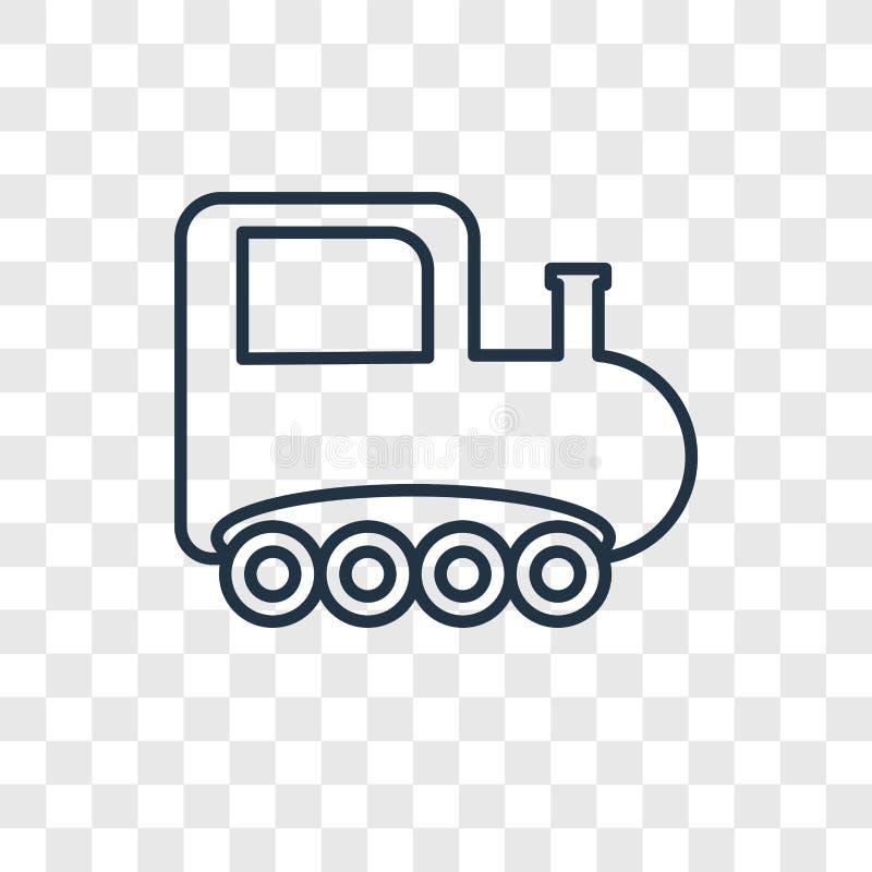 在透明bac隔绝的火车玩具概念传染媒介线性象 皇族释放例证