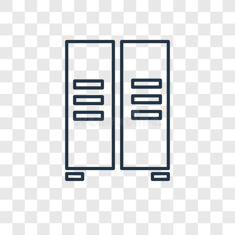在透明backg隔绝的衣物柜概念传染媒介线性象 向量例证