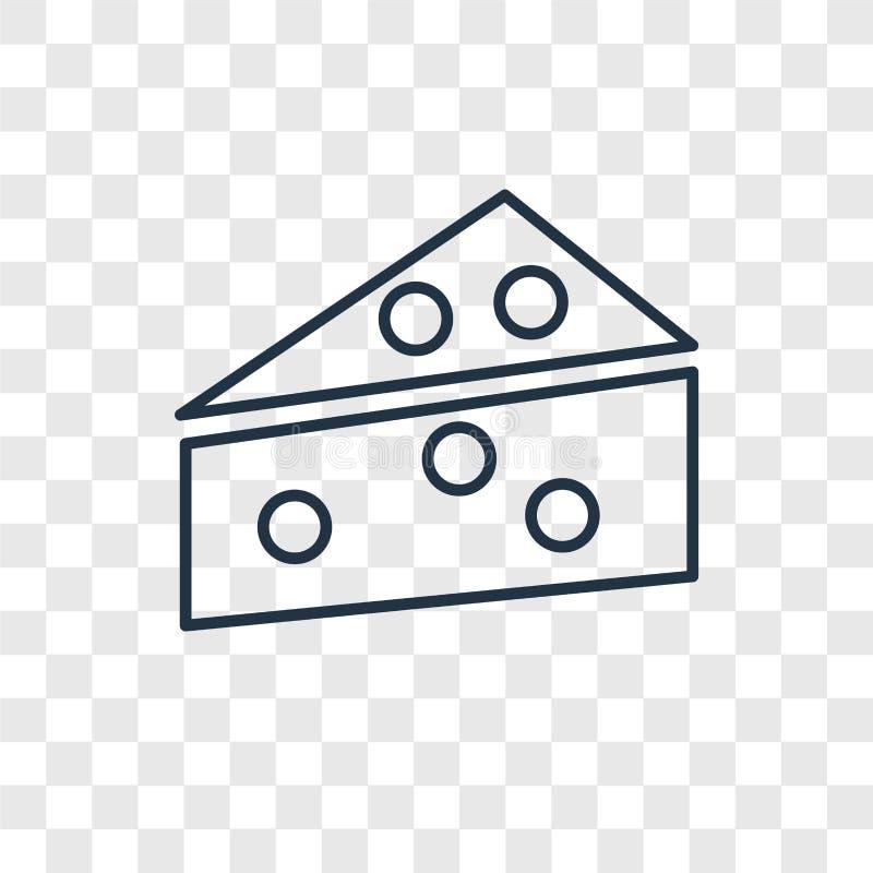在透明backgr隔绝的乳酪概念传染媒介线性象 库存例证