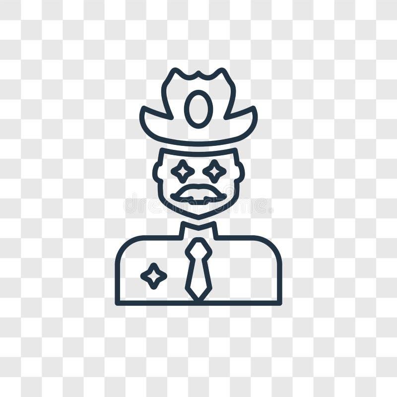 在透明backgr隔绝的牛仔概念传染媒介线性象 库存例证