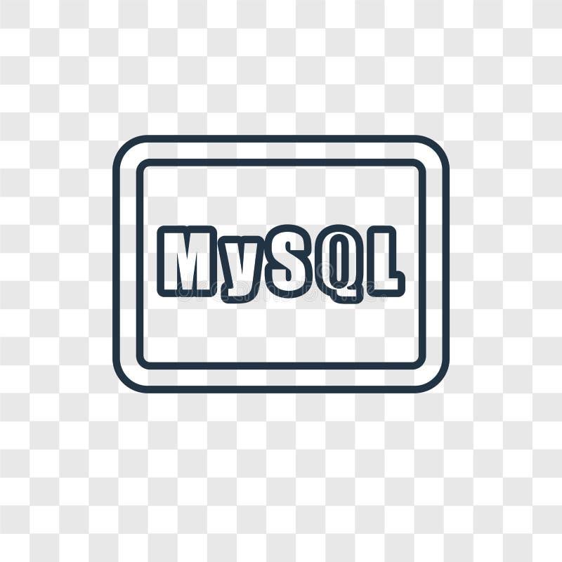 在透明backgro隔绝的Mysql概念传染媒介线性象 皇族释放例证