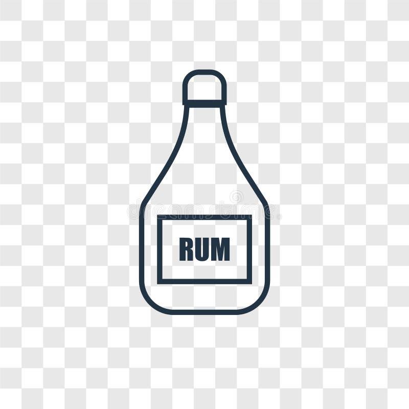 在透明backgroun隔绝的兰姆酒概念传染媒介线性象 库存例证