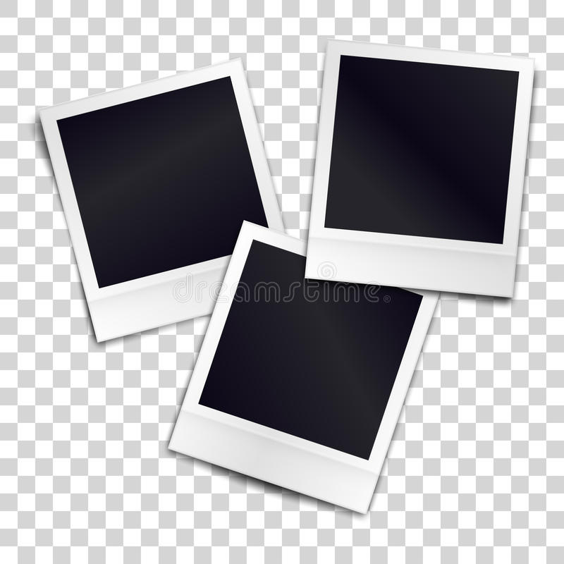 在透明fone的三个照片拟真的空白的减速火箭的照片框架 库存例证
