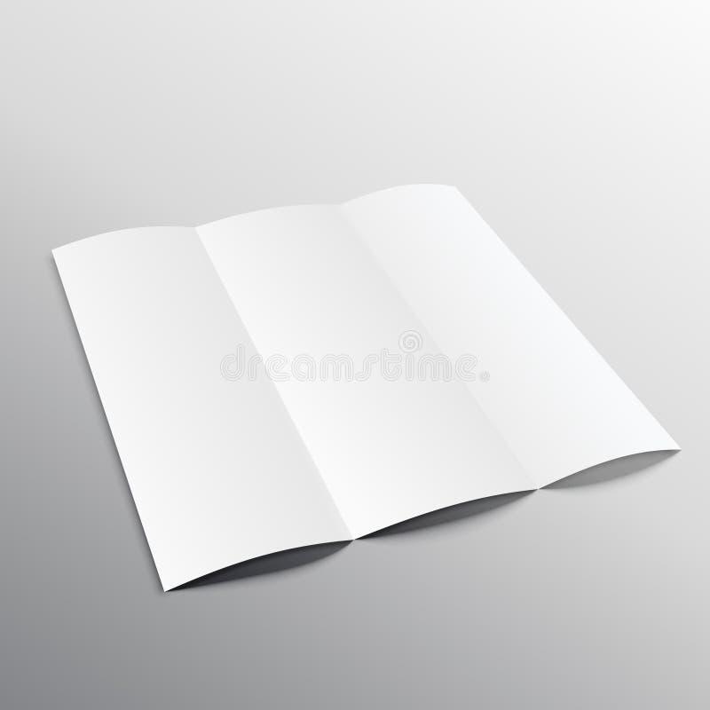 在透视的三部合成的空白的小册子大模型设计 库存例证