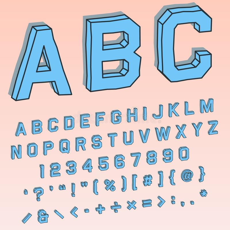 在透视的容量3D字体与按字母顺序和数字字符 向量例证