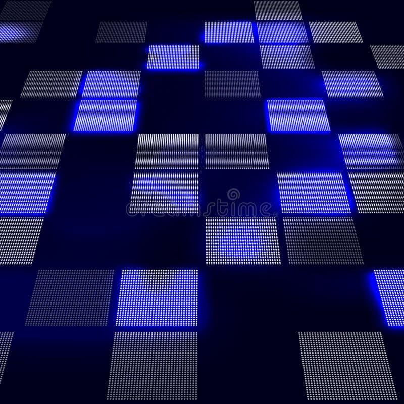 在透视的抽象高科技蓝色背景 未来派数字技术背景 也corel凹道例证向量 皇族释放例证