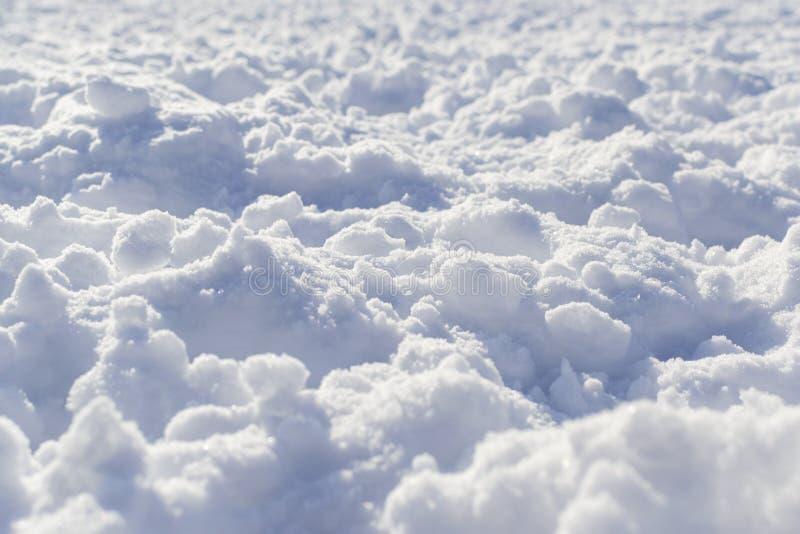 在透视的深刻的易碎的雪纹理 库存图片