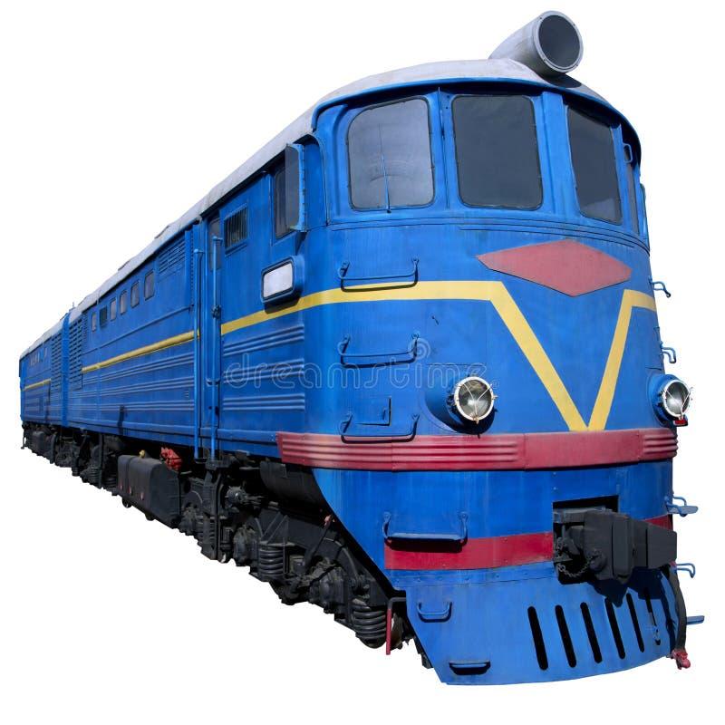 在透视的蓝色机车 库存照片