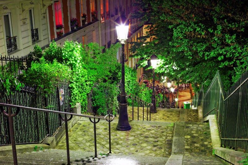 在途中的台阶对大教堂Sacre-Coeur。巴黎。 库存图片