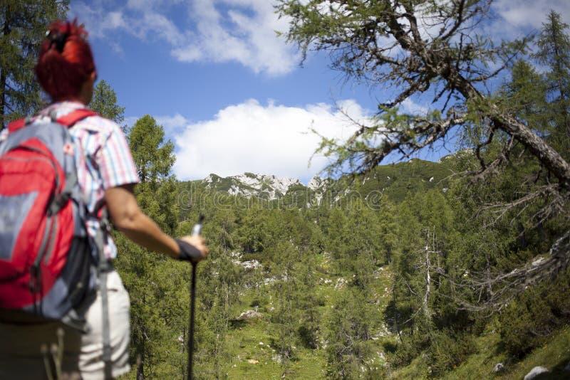 在途中的妇女远足者对山峰 库存照片