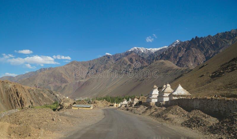 在途中的白色stupas对Alchi修道院在拉达克,印度 免版税库存照片
