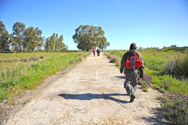 在途中的香客向圣地亚哥,通过de拉普拉塔,巴达霍斯,西班牙省  免版税库存照片
