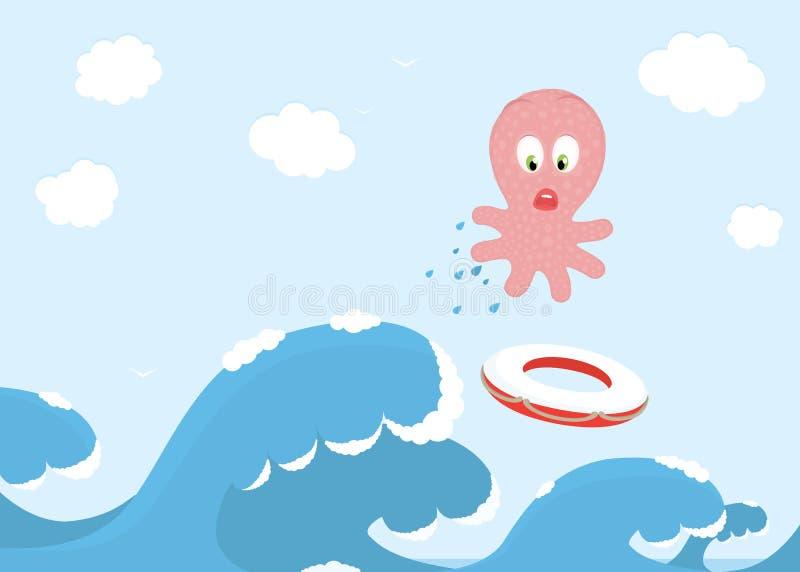 在通知的跳的海洋章鱼 皇族释放例证