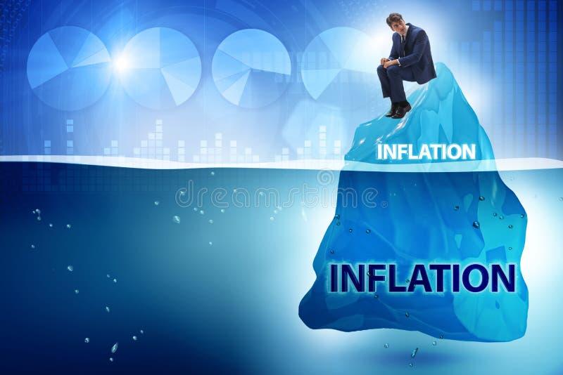 在通货膨胀概念的商人与冰山 免版税库存图片