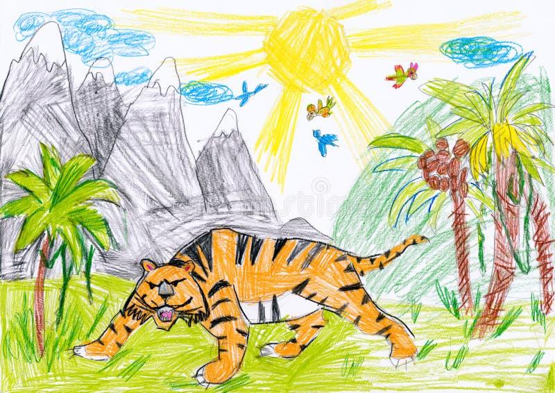 在通配的老虎 图画父亲儿子.图片
