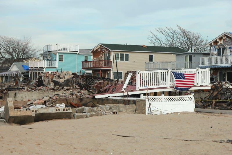 在通风点, NY的被毁坏的区域在飓风桑迪以后的三个月 免版税库存照片