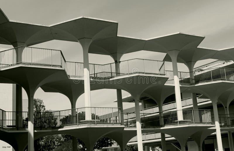 在邦纳霍尔和梅厄霍尔,加州大学圣地亚哥分校之间的美丽的Breezeway 库存图片