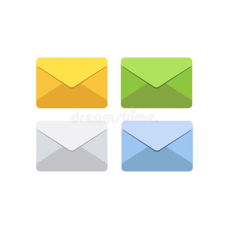 在邮件信封的信件在白色,灰色,黄色,绿色和蓝色 动画片例证鼠标被设置的向量 邮箱通知或电子邮件 库存例证