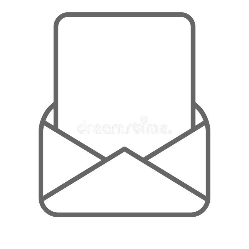 在邮件信封黑色白色的空白页 向量例证