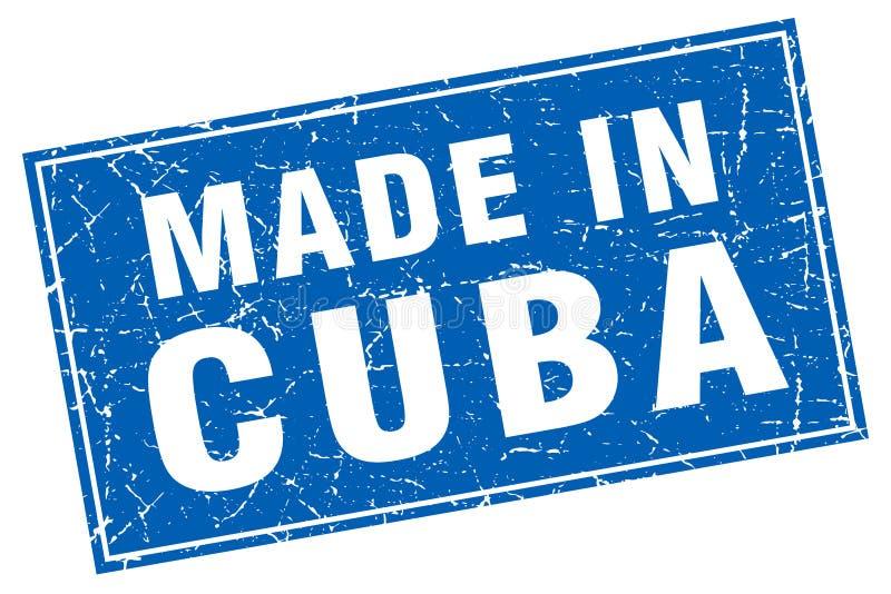 在邮票做的古巴蓝色正方形 向量例证