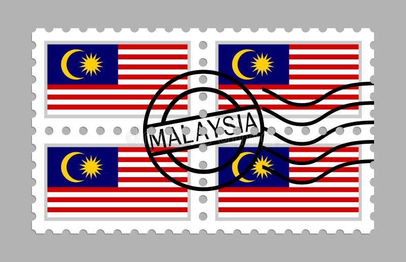 在邮票的马来西亚旗子 皇族释放例证