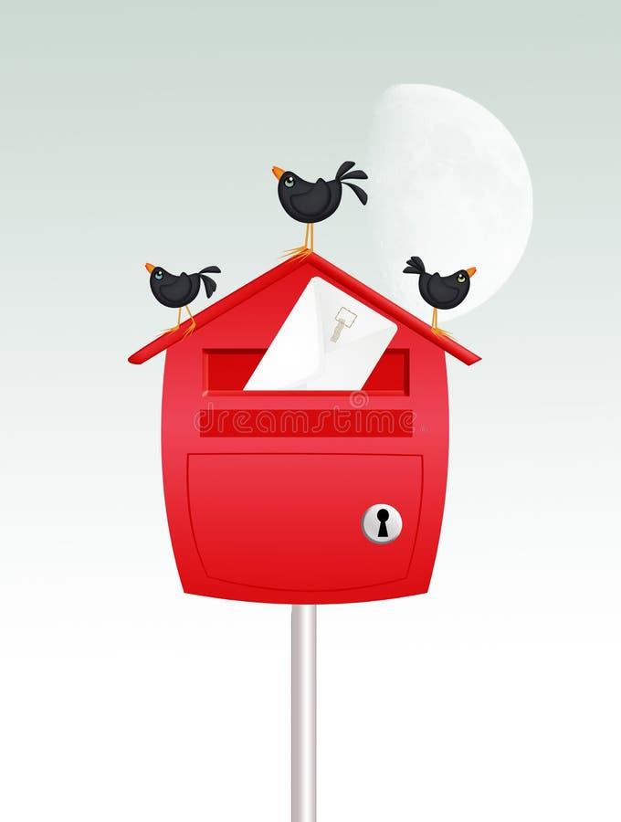 在邮箱的黑鹂在冬天 库存例证