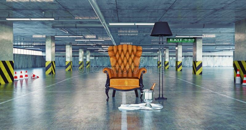 在都市空的停车处的豪华扶手椅子 库存例证