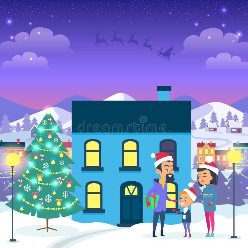 在都市议院和圣诞树附近的愉快的家庭 向量例证