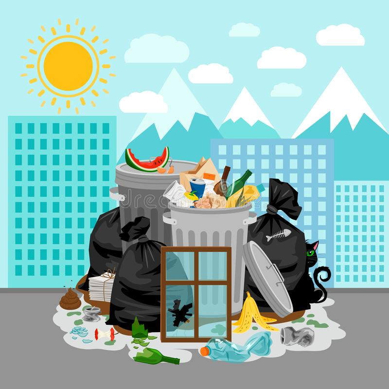 在都市风景背景的垃圾堆 向量例证