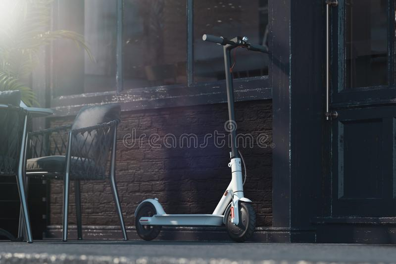 在都市风景背景的电滑行车 飞机概念eco运输 3d翻译 库存例证