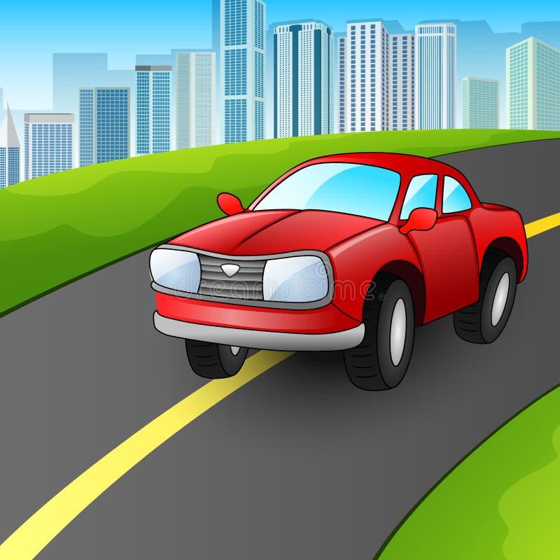 在都市高速公路的动画片红色汽车 皇族释放例证