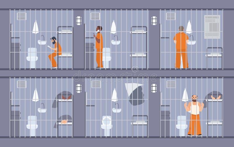 以在酒吧后的五颜六色的例证囚犯为特色 橙色制服的人们 逃命通过在细胞的墙壁出去 皇族释放例证
