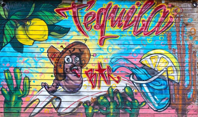在酒吧篱芭的街道画  免版税图库摄影
