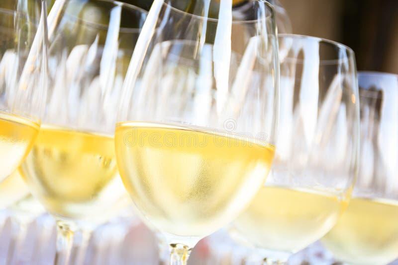 在酒杯的白葡萄酒 免版税库存照片